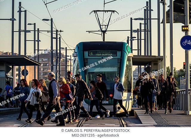 Tram transport in Barcelona, Catalonia, Spain
