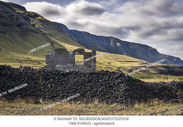 Old stone ruins of a US and British WWII naval installation, Hvitanes, Hvalfjordur, Iceland