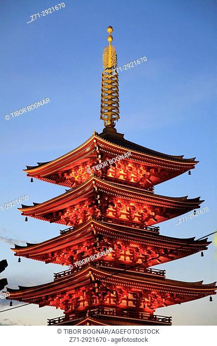 Japan, Tokyo, Asakusa, Sensoji Temple, Five-story Pagoda,