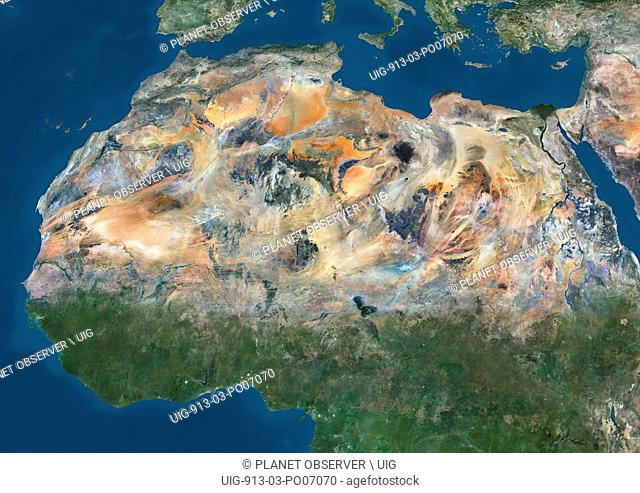 Satellite view of North Africa. This image was compiled from data acquired by Landsat 7 & 8 satellites