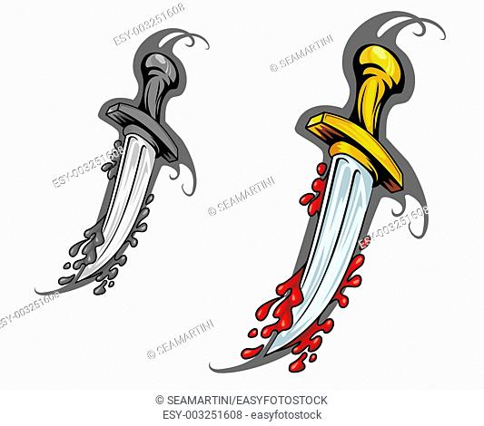 Blade with blood in cartoon style for tattoo design