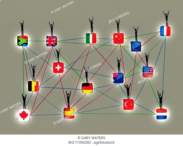People waving on network of connected international flags