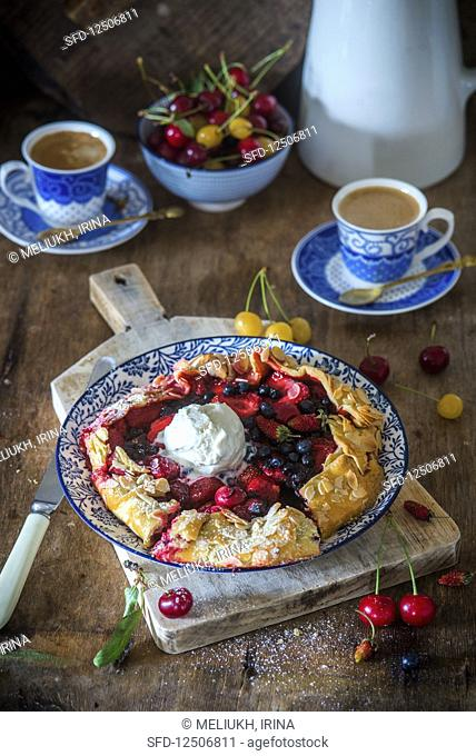 Berry galette with ice cream