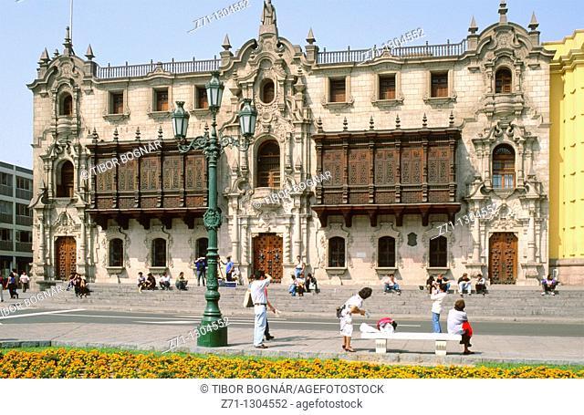 Peru, Lima, Plaza de Armas, Spanish colonial architecture