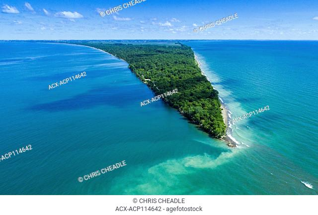 Aerial of Point Pelee National Park, a national park in Essex County in southwestern Ontario, Canada on Lake Erie