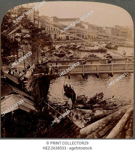 'The centre of traffic - Singapore River and Kavanagh Bridge, from Surveyor's office, Singapore', 19 Artist: Unknown