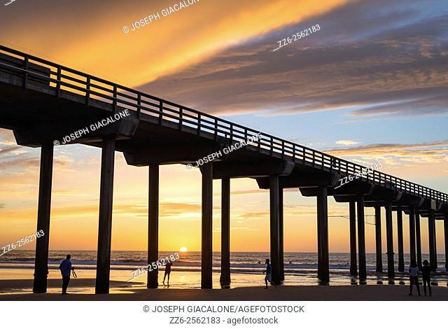Scripps Pier, sunset, beach, coastal. La Jolla, California, United States