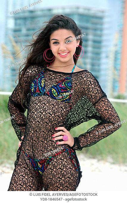 Young woman looking at the camera, Miami Beach, Florida, USA