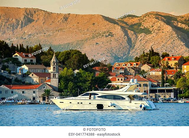 A view of a yacht anchored in front of seaside in Cavtat, Croatia