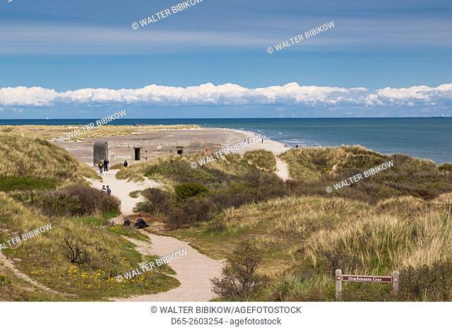 Denmark, Jutland, Skagen, Grenen, northernmost point in Denmark, where Skagerrak and Kattegat meet, WW2-era German bunker