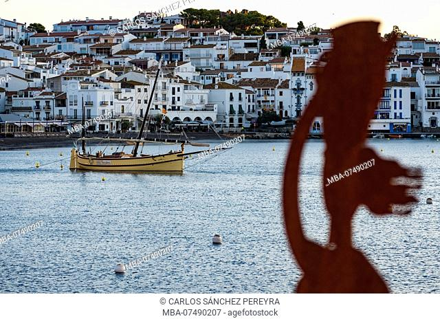 Sunrise in the village of Cadaques north of the Costa Brava in the natural reservoir of Cap de Creus in the province of Gerona in Catalonia Spain