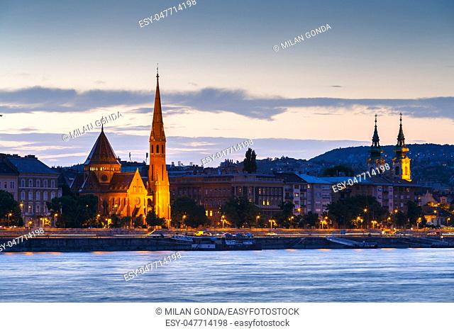 Sunset over historic town centre of Budapest, Hungary.