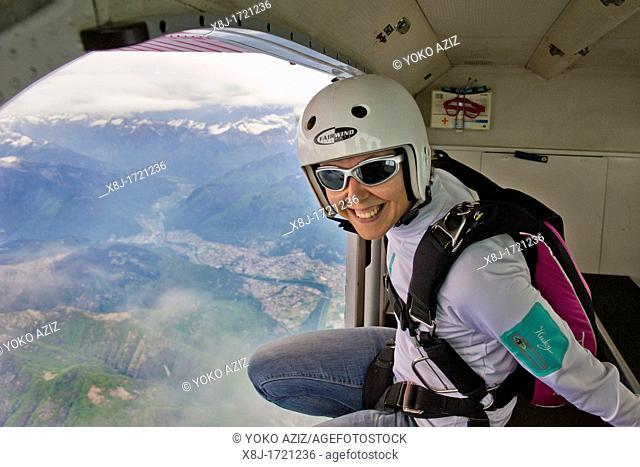 Switzerland, Canton Ticino, Locarno, parachuting school