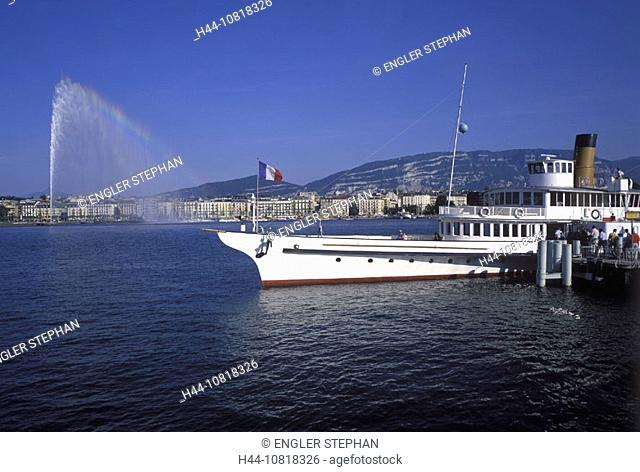 Geneva, town, city, ship, MS Vevey, moorings, Lake Geneva, lake of Geneva, Lac Leman, rainbow, jet, Jet d'Eau, fountai