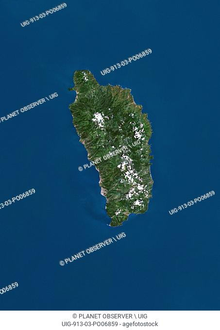Satellite view of Dominica in the Lesser Antilles archipelago. This image was compiled from data acquired by Landsat satellites