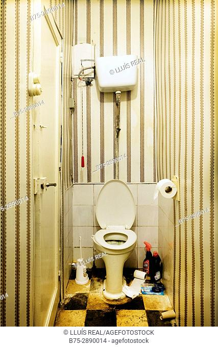 Old vintage toilet and cleaning products