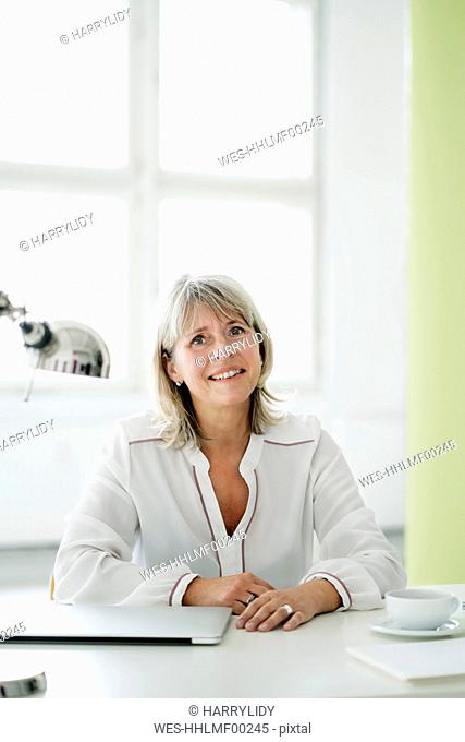 Portrait of smiling mature businesswoman at desk