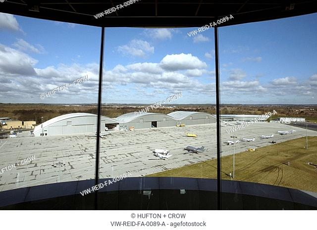 TAG AVIATION AIRPORT, FARNBOROUGH, HAMPSHIRE, UK, REID ARCHITECTURE, INTERIOR, VIEW FROM CONTROL TOWER