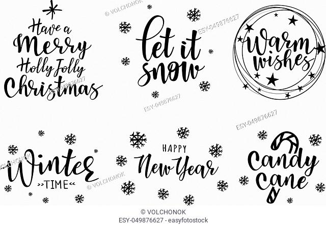Lettering inscription to winter holiday design. Can be used for invitation, posters, cards and etc