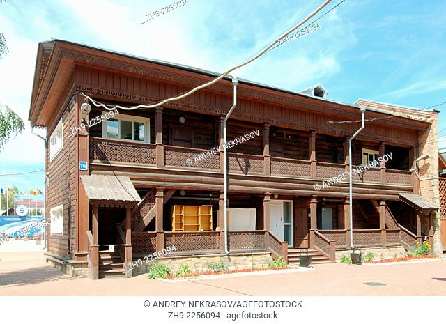Wooden log house to historic city center of Irkutsk. Siberia, Russian Federation