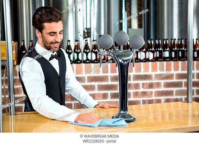 Handsome barman cleaning the counter