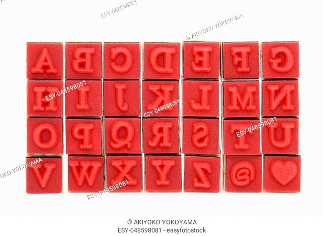 type set rubber stamps with wooden handle. the alphabet