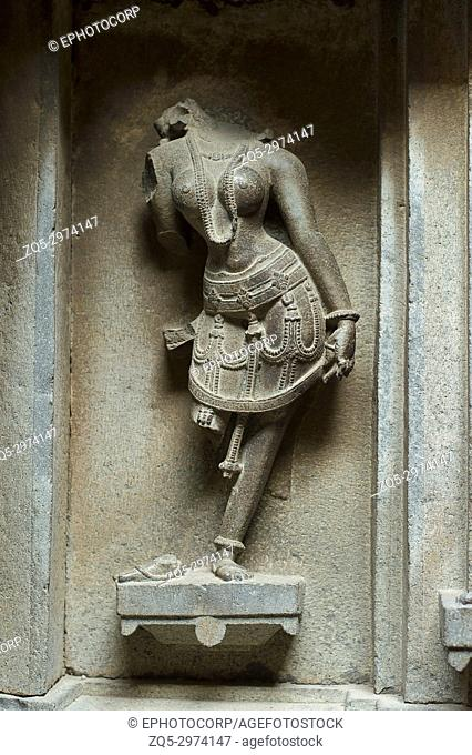 Sculpture on wall, Bhuleshwar temple, Yavat, Maharashtra, India