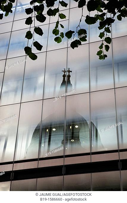 Saint Paul's Cathedral reflected in a glass building, London, England, United Kingdom,Europe