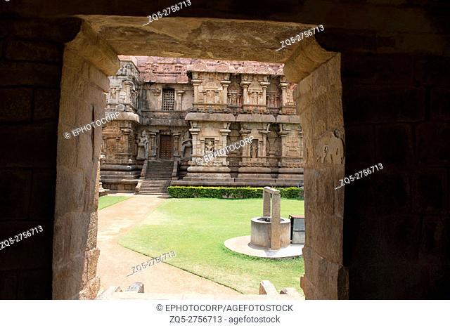 Part of the Brihadisvara Temple seen from the northern entrance to the mukhamandapa of Amman temple of goddess Brihannayaki, Gangaikondacholapuram, Tamil Nadu