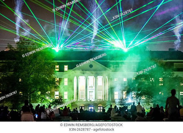 Laser beam in the sky at University of Maryland Homecoming in College Park, Maryland