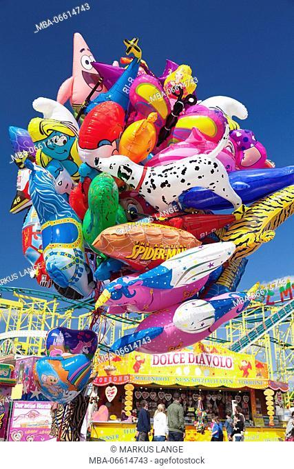 Balloons, spring festival on the Cannstatter Wasen, Stuttgart, Baden-Wurttemberg, Germany