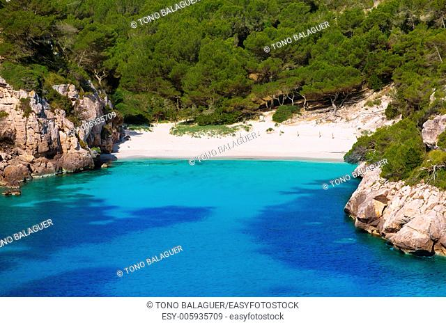 Cala Macarelleta in Ciutadella Menorca at turquoise Balearic Islands Mediterranean sea