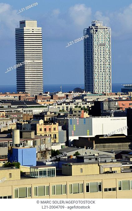 Cityscape, skyline. View of 22@ district. The bottom: Hotel Arts and Mapfre Tower. Poblenou, Barcelona, Catalonia, Spain