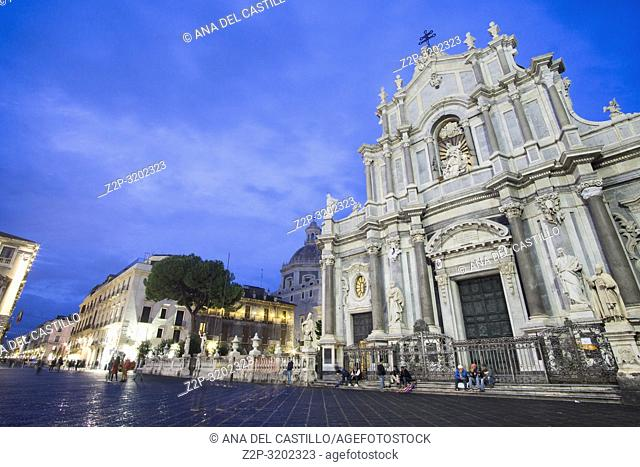Duomo square Catania by twilight, Sicily, Italy