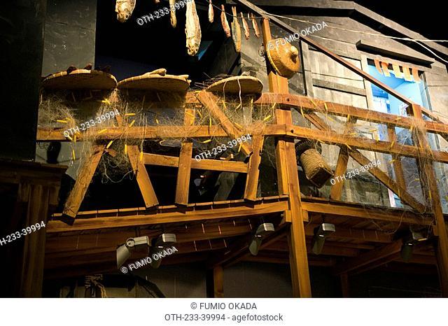 Exhibit of fishermen's home at Hong Kong Heritage Museum, Shatin, Hong Kong