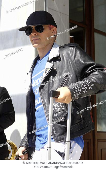 """American actor, singer, songwriter, and director JARED LETO leave from Hotel after his concert with his group """"""""Thirty Seconds To Mars"""""""", yesterday in Athens"""