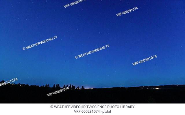 Clear night sky. Time-lapse footage of stars and the Milky Way rotating overhead in a clear sky on a summer's night. The lights of some jet airliners are also...