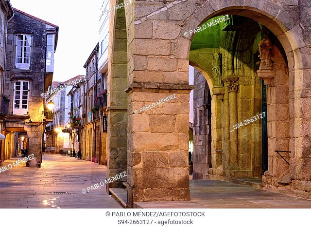Church entrance in the center of the city. Santiago de Compostela, A Coruña, Galicia, Spain