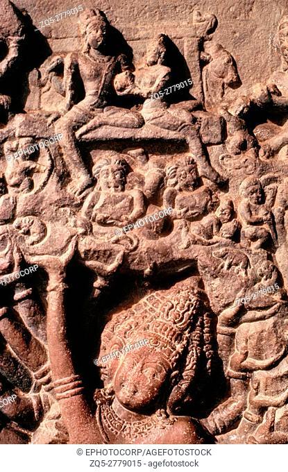 Ravana-anugrahamurti on south porch. Pattadakal Virupaksa temple, circa 740 A. D. Karnataka, India
