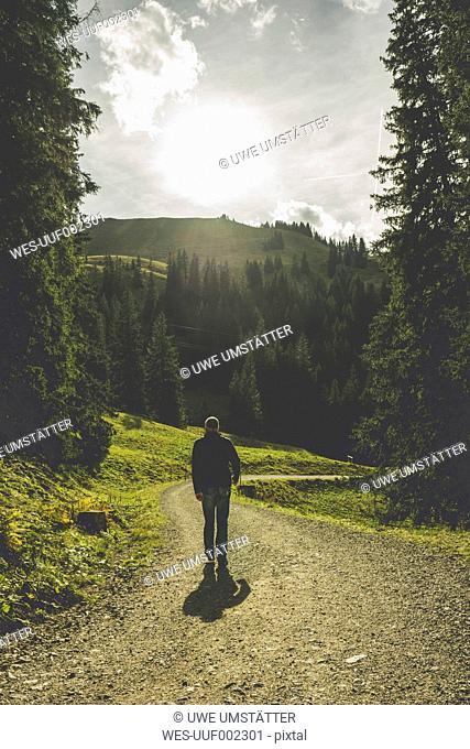 Austria, Tyrol, Tannheimer Tal, mature man hiking