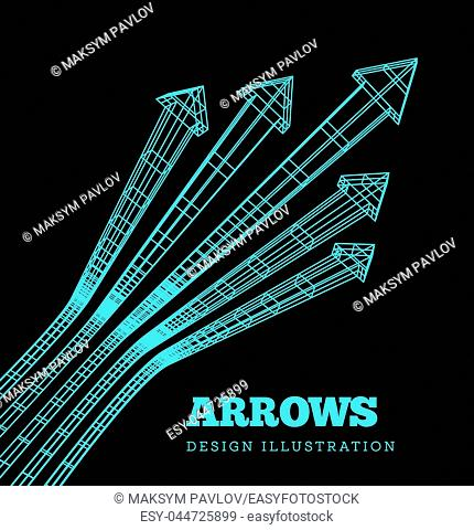A set of arrows in the concept of the championship or competition. Drawing blue print style. Vector illustration on black