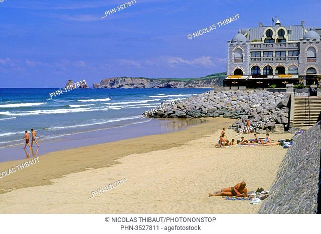 France, Aquitaine, Pyrenees Atlantiques (64), Basque country, province of Labourd, Hendaye, old casino and beach