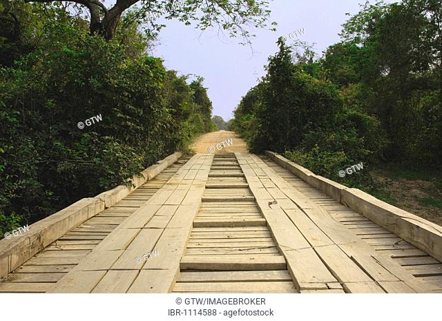 Transpantaneira, Wooden Bridge, Pantanal, UNESCO World Heritage Site and Biosphere reserve, Mato Grosso, Brazil