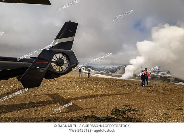Helicopter, steam from geothermal fields, near Hrafntinnusker, Landmannalaugar, Central Highlands, Iceland
