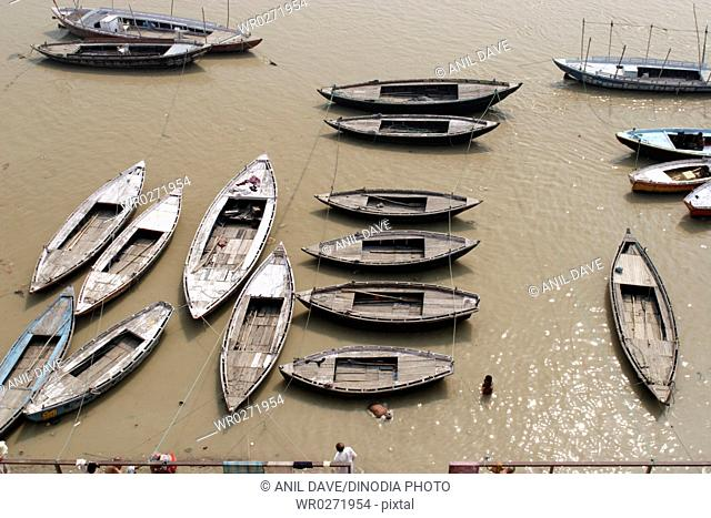 Boat at Ganga Ghat From Observatory , Varanasi , Uttar Pradesh , India