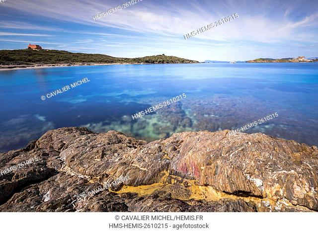 France, Var, Iles d'Hyeres, national park of Port-Cros, Island of Porquerolles, the white beach north side of Langoustier