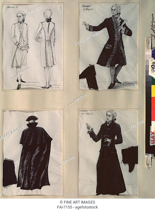 Costume design for the play Mozart und Salieri by A. Pushkin. Zinchenko, Zinaida Arsenyevna (*1939). Ink on paper. Theatrical scenic painting. 1989