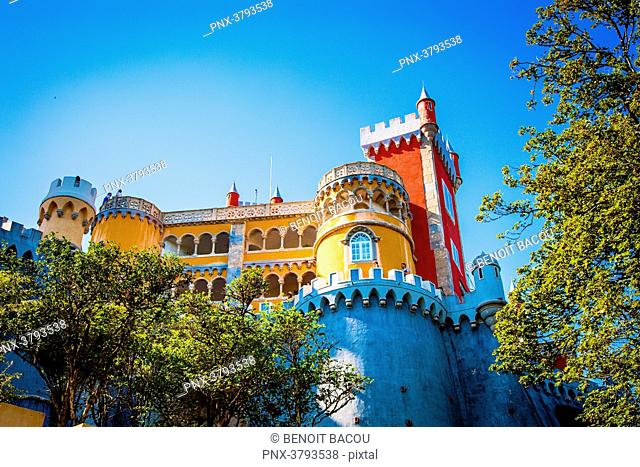 View dive against the Pena National Palace, Sintra, Lisbon area, Portugal