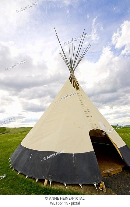 Indian tipi for education purpose in Ann&Sandy Cross Conservation Area, southwest of Calgary, Alberta, Canada