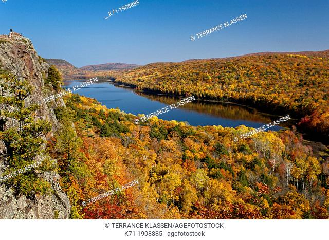 The Porcupine Mountains State Park and the Lake of the Clouds with fall foliage color from the Lake of the Clouds overlook near Ontonagon, Michigan, USA